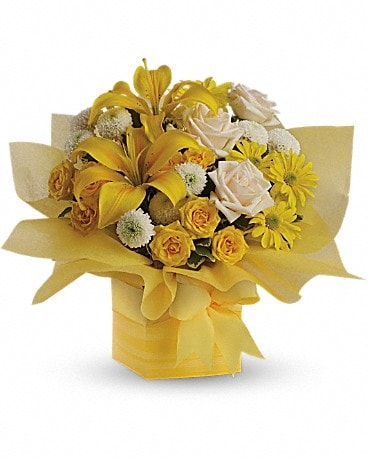 Teleflora's Sunshine Surprise Present Bouquet