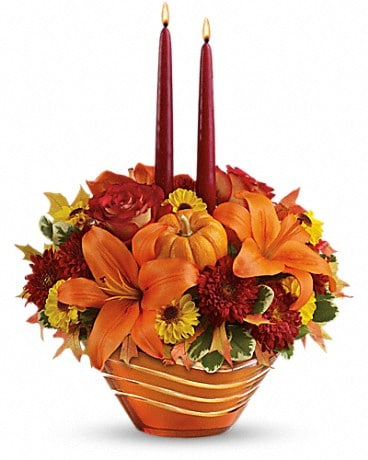 Teleflora's Amber Waves Centerpiece Flower Arrangement