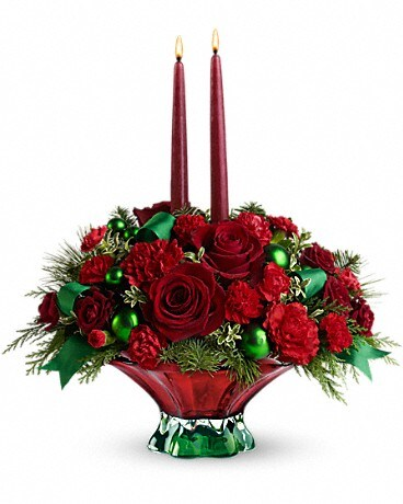 Teleflora's Joyful Christmas Centerpiece Flower Arrangement