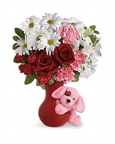 Send A Hug™ Puppy Love Bouquet with Red Roses Bouquet