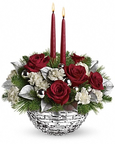 Teleflora's Sparkle of Christmas Centerpiece Flower Arrangement