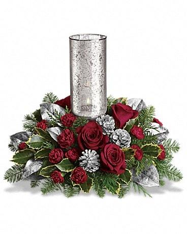 Teleflora's Silver Glow Centerpiece Flower Arrangement