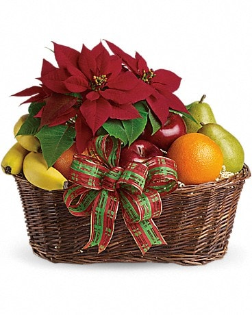 Fruit and Poinsettia Basket Bouquet