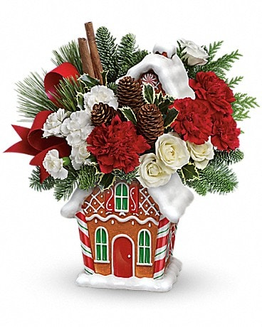 Teleflora's Gingerbread Cookie Jar Bouquet