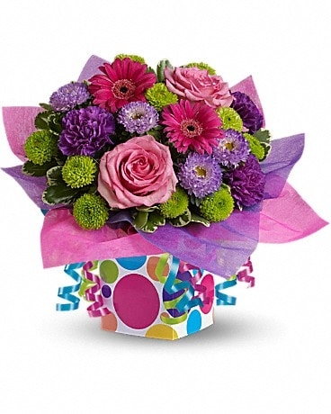 Teleflora's Confetti Present Flower Arrangement