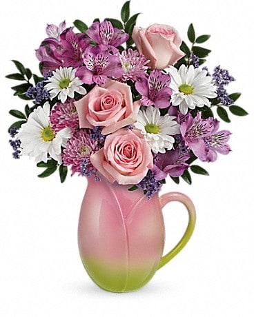 Teleflora's Spring Tulip Pitcher Bouquet Bouquet