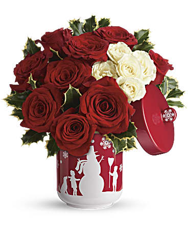 Teleflora's Roses And Holly Bouquet Bouquet