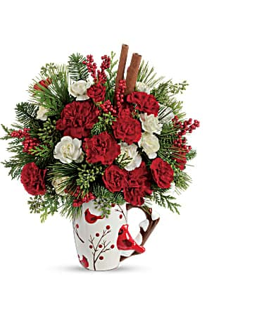 Send a Hug® Christmas Cardinal by Teleflora Bouquet