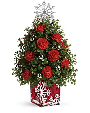 Teleflora's Sparkling Snowflake Tree Bouquet