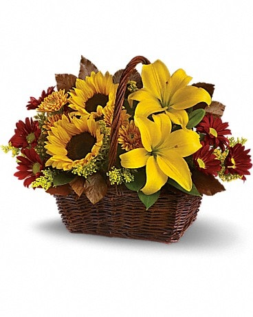 Golden Days Basket Basket Arrangement