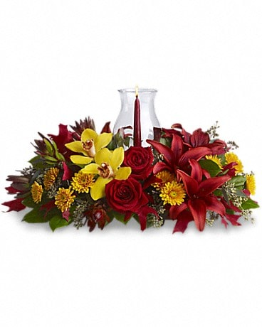 Glow of Gratitude Centerpiece Flower Arrangement