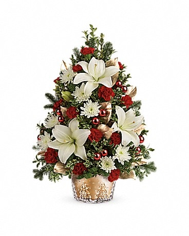 Teleflora's Golden Pines Tree Flower Arrangement
