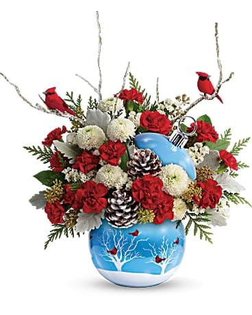 Teleflora's Cardinals In The Snow Ornament  Bouquet