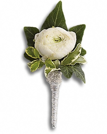 Blissful White Boutonniere Corsage