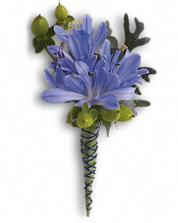 Bold and Blue Boutonniere Boutonniere