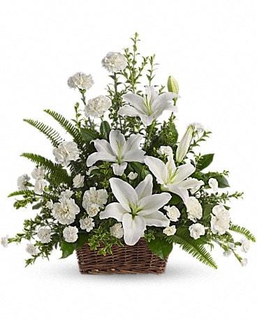 Peaceful White Lilies Basket Basket Arrangement