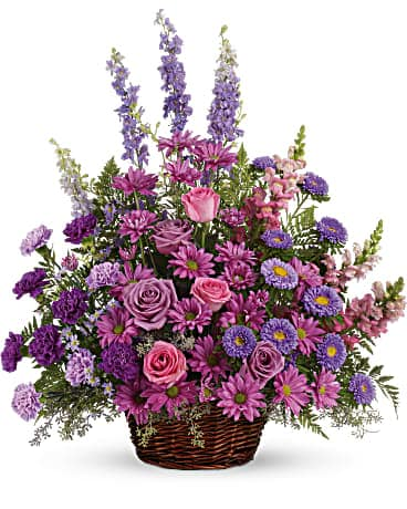 Gracious Lavender Basket Basket Arrangement