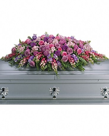 Lavender Tribute Casket Spray Sympathy Arrangement