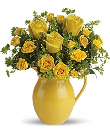 Teleflora's Sunny Day Pitcher of Roses Bouquet