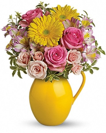 Teleflora's Sunny Day Pitcher Of Charm Flower Arrangement