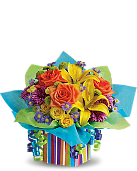 Teleflora's Rainbow Present - Flower Arrangement