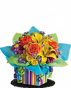 Teleflora's Rainbow Present - Flower Arrangement