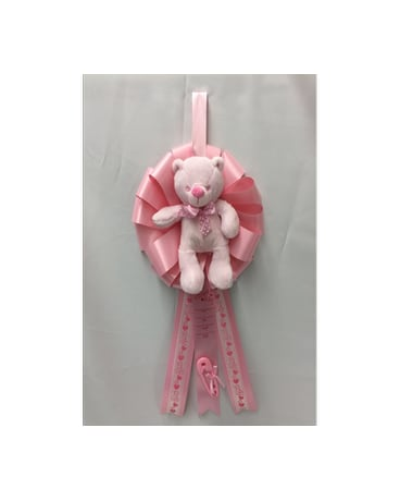 It's a Girl Ribbon with Bear