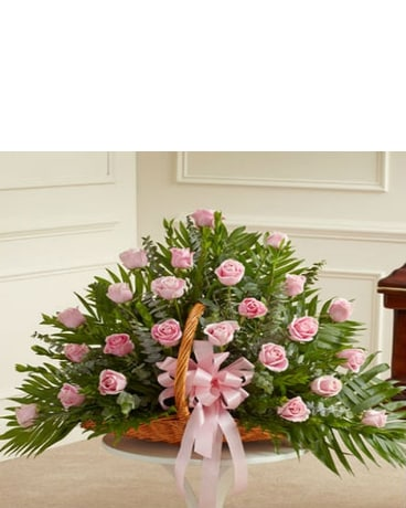 Pink Rose Sympathy Basket