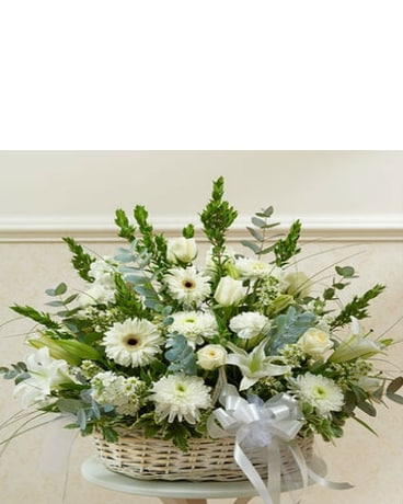 Large White Sympathy  Basket
