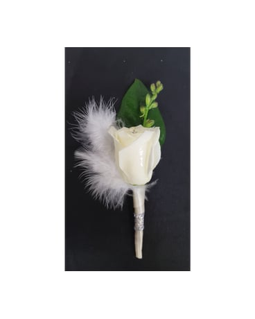 Feathery White Boutonniere
