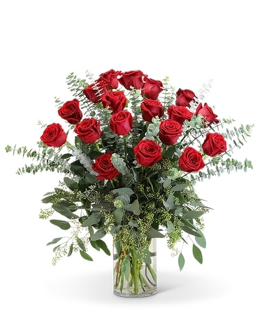 Red Roses with Eucalyptus Foliage (18) Flower Arrangement