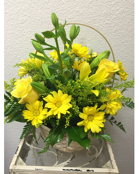 Hello Yellow Flower Arrangement