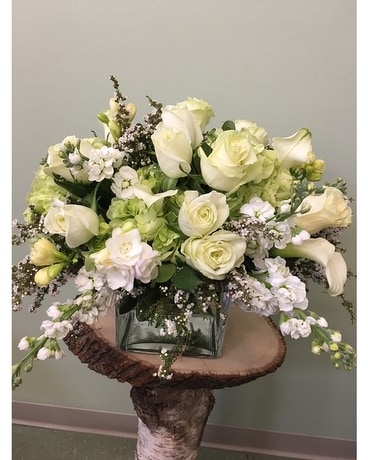 Cube of White and Green Flower Arrangement