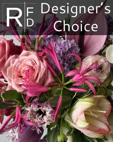 RFD Designer's Choice in Bright Pink and Purple Flower Arrangement