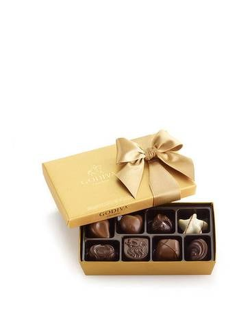 Godiva Assorted Chocolate Gold Gift Box, Classic R Flower Arrangement
