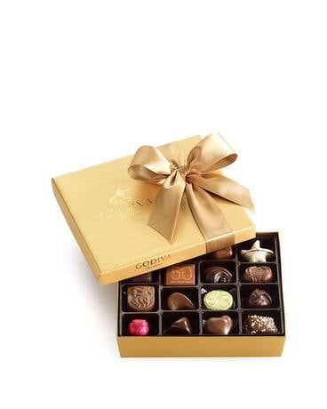 Godiva Assorted Chocolate Gold Gift Box Flower Arrangement