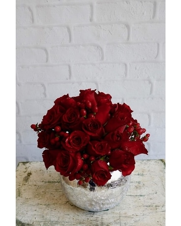 Scarlet Blossoms Flower Arrangement