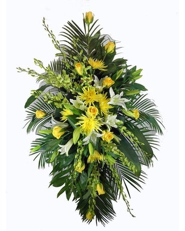 Sunshine Sentiments Spray on a Stand Funeral Arrangement