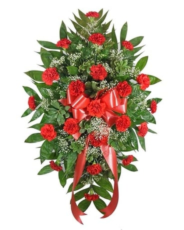 Timeless Traditions Standing Spray Red Funeral Arrangement