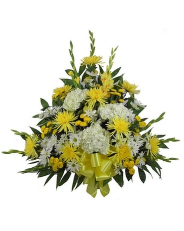Sunshine Sentiments Glads and Hydrangea Mache Funeral Arrangement