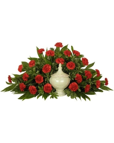 Timeless Traditions Red Carnation Cremation Arrang Funeral Arrangement