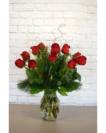 Christmas Classic Dozen Red Roses Flower Arrangement