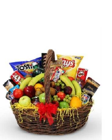 Large Fruit and Snack Basket Flower Arrangement