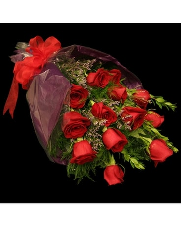 Wrapped Dozen Roses Flower Arrangement