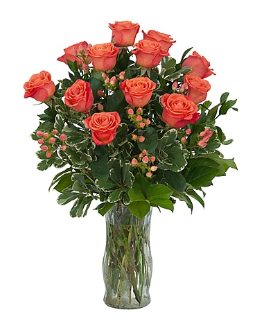 Orange Roses and Berries Vase Flower Arrangement