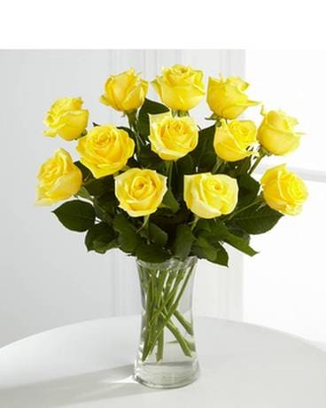 A Dozen Yellow Roses Flower Arrangement