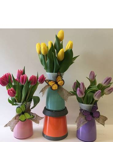 Custom Tulip Vase Flower Arrangement