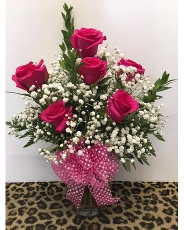 Half Dozen Hot Pink Roses Flower Arrangement
