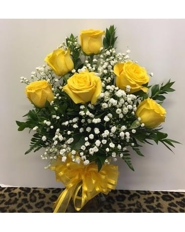 Half Dozen Yellow Roses Flower Arrangement