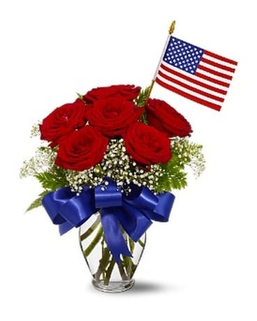 Star Spangled Roses Bouquet Flower Arrangement